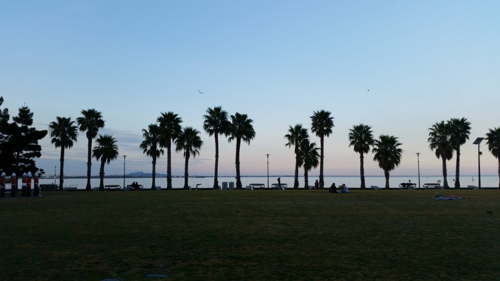 Sunset on the Geelong foreshore at the end of a beautiful sunny day.
