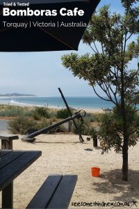 The beachfront view from the tables at Bomboras Cafe in Torquay Victoria | See Something New Australian Travel Blog