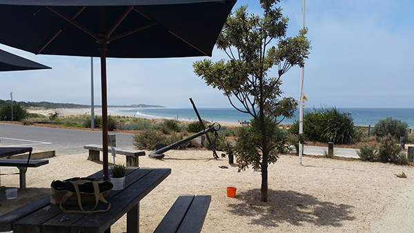 The view from the table at Bomboras Cafe & Kiosk in Torquay Victoria by See Something New