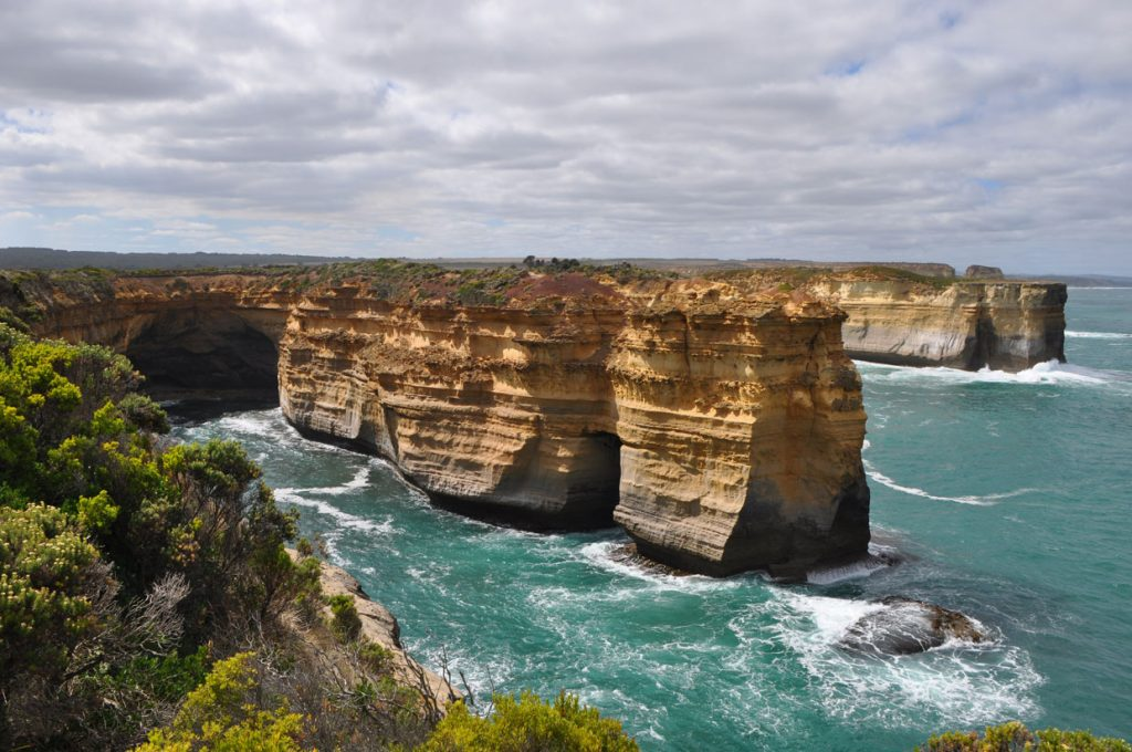 The view of Loch Ard Gorge and the limestong cliffs on the Great Ocean Road Australia