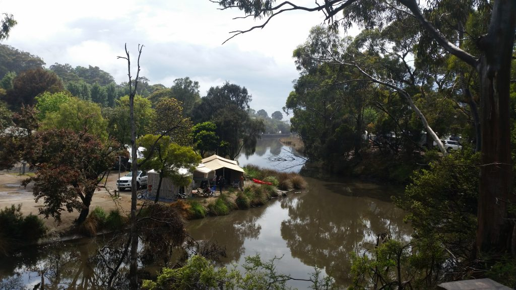 The view of the river from the visitors centre - a weekend in lorne
