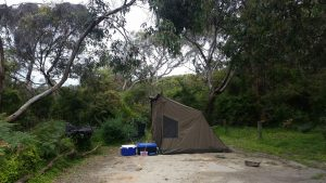 Camping at blanked bay in the Otway National Park