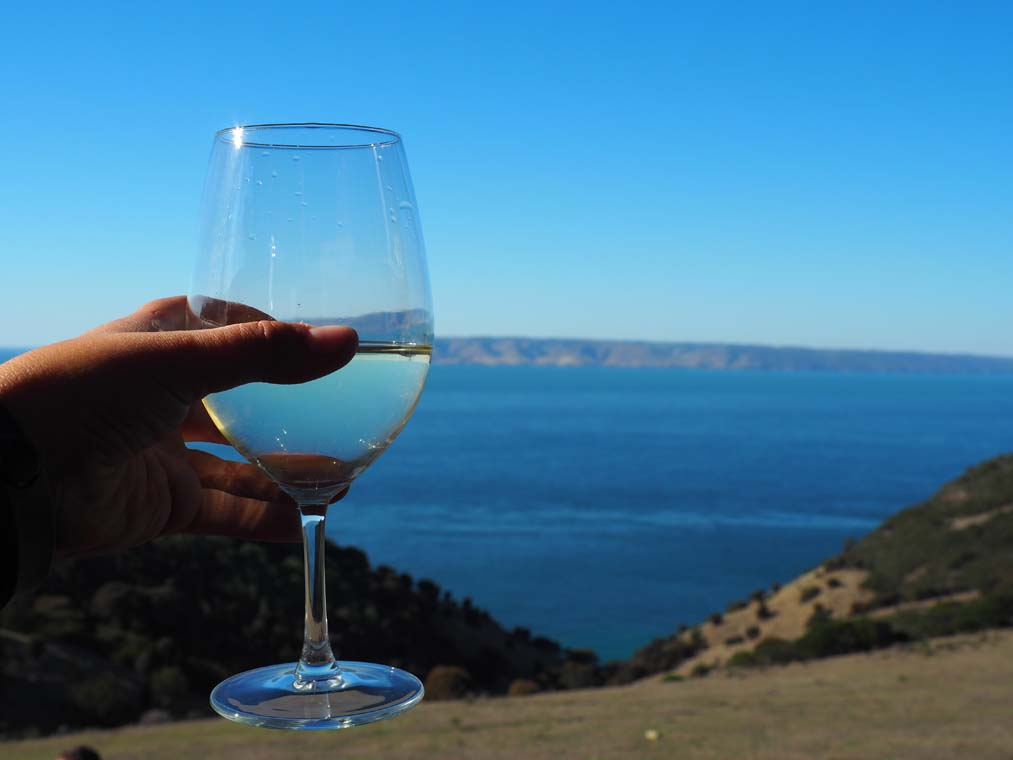 Its hard to choose a winner - the delicious wine or the spectacular ocean view