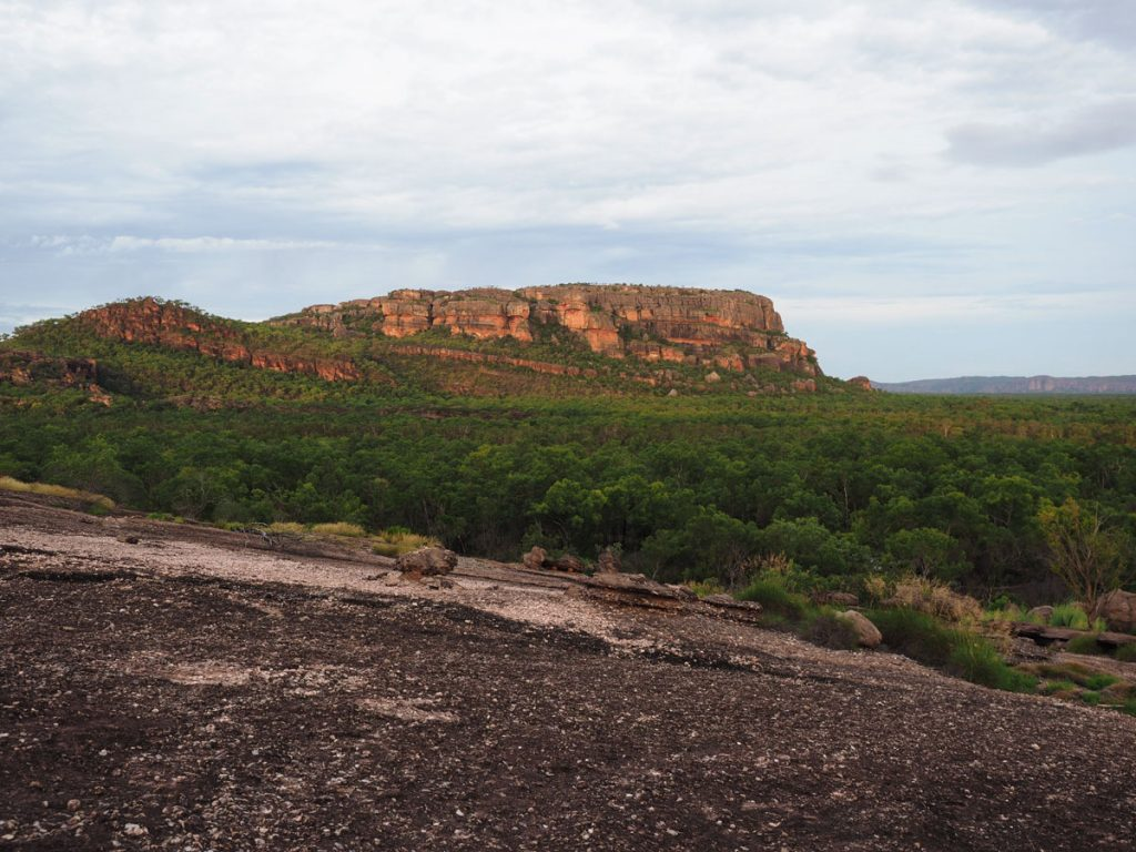 The sunset view on a cloudy day from Nawurlandja Lookout in Kakadu