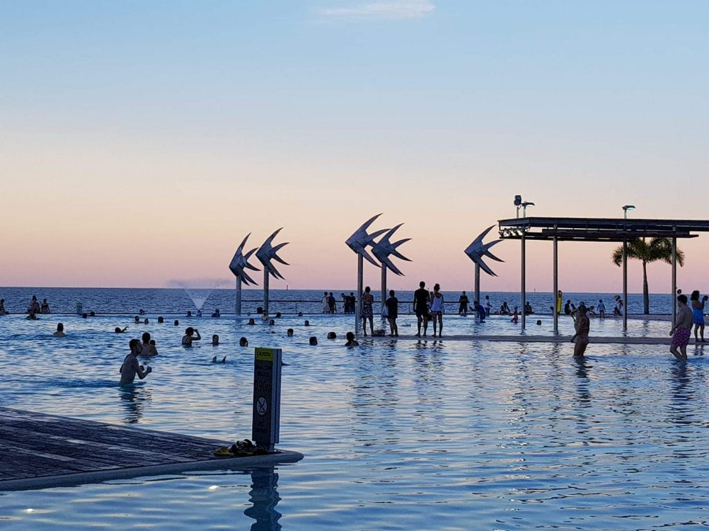 Sunset over the Lagoon Pool on the esplanade in Cairns